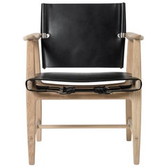 Carl Hansen BM1106 Huntsman Chair in Black with Oak White Oil by Børge Mogensen