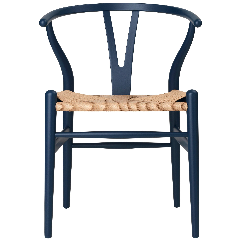Carl Hansen CH24 Soft Wishbone Chair in Blue with Natural Cord by Hans J. Wegner