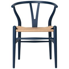 Carl Hansen CH24 Soft Wishbone Chair in Blue with Natural Cord by Hans J. Wegner