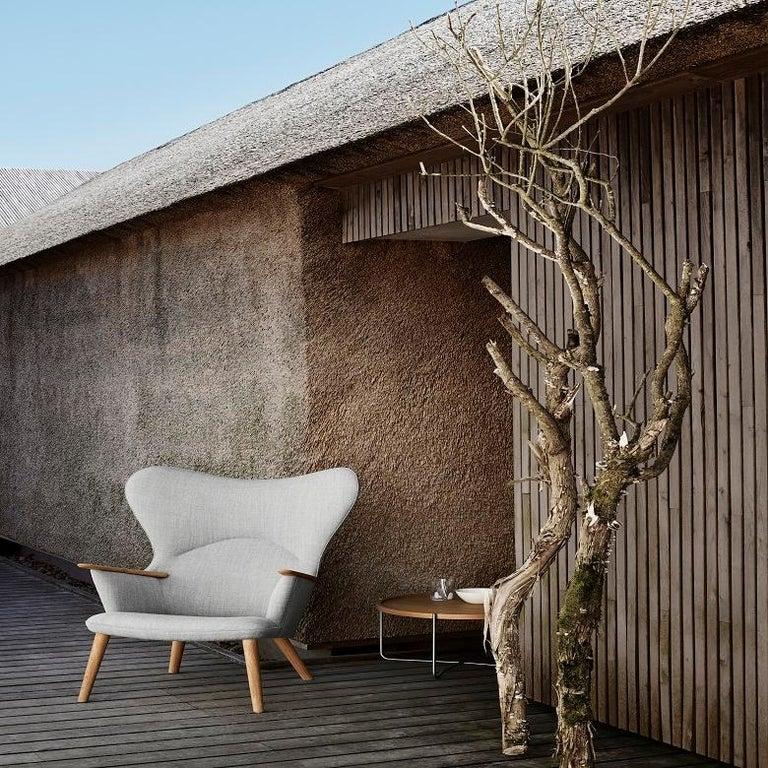 Modern Carl Hansen CH78 Mama Bear Chair in Oak/ Fiord 0151 Fabric by Hans J. Wegner For Sale
