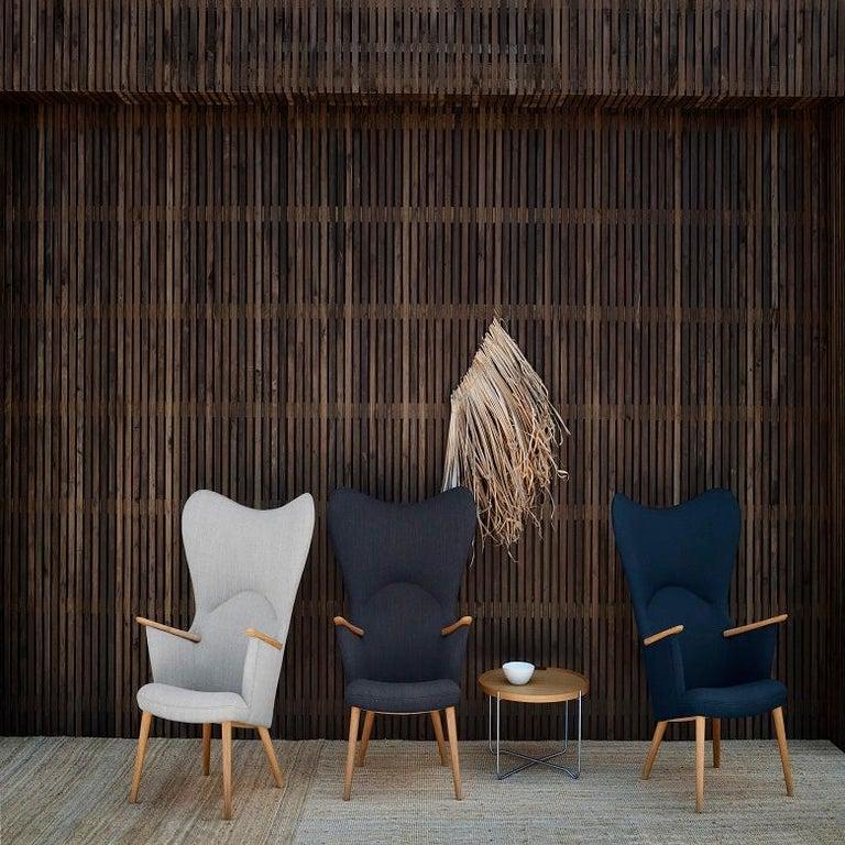 Danish Carl Hansen CH78 Mama Bear Chair in Oak/ Fiord 0151 Fabric by Hans J. Wegner For Sale