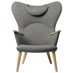 Carl Hansen CH78 Mama Bear Chair in Oak/ Fiord 0151 Fabric by Hans J. Wegner