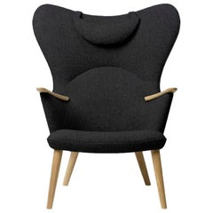 Carl Hansen CH78 Mama Bear Chair in Oak/ Fiord 0191 Fabric by Hans J. Wegner
