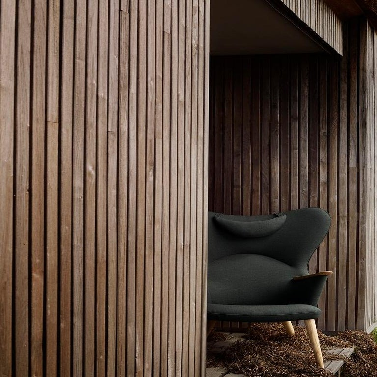 Modern Carl Hansen CH78 Mama Bear Chair in Oak/ Fiord 0961 Fabric by Hans J. Wegner For Sale
