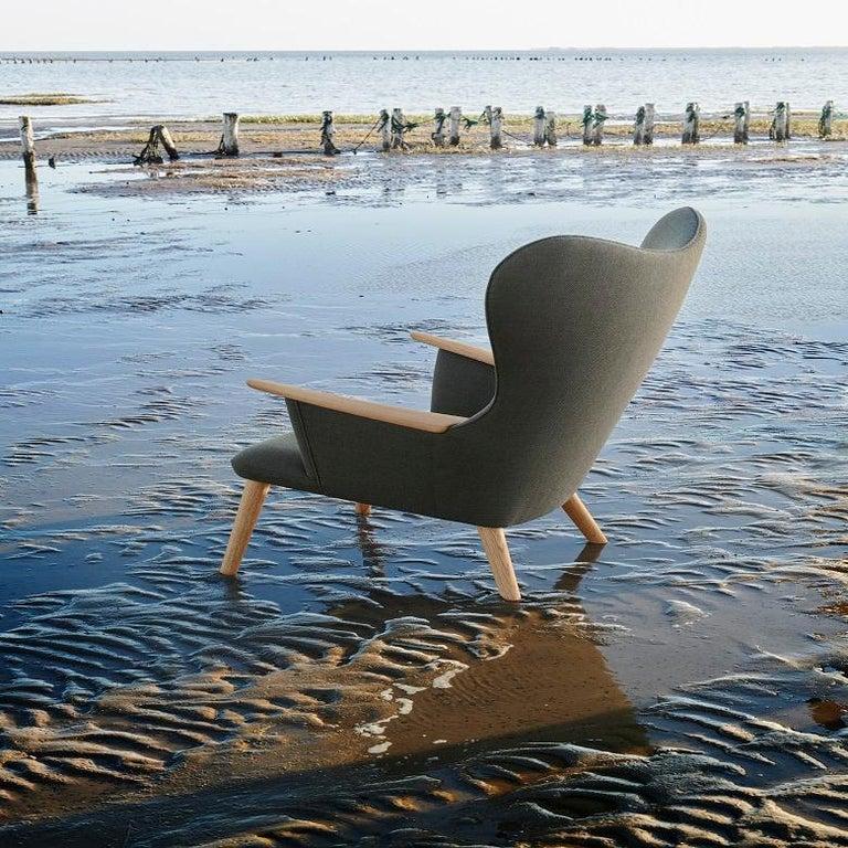 Danish Carl Hansen CH78 Mama Bear Chair in Oak/ Fiord 0961 Fabric by Hans J. Wegner For Sale