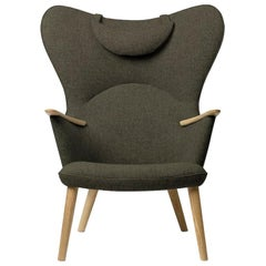 Carl Hansen CH78 Mama Bear Chair in Oak/ Fiord 0961 Fabric by Hans J. Wegner