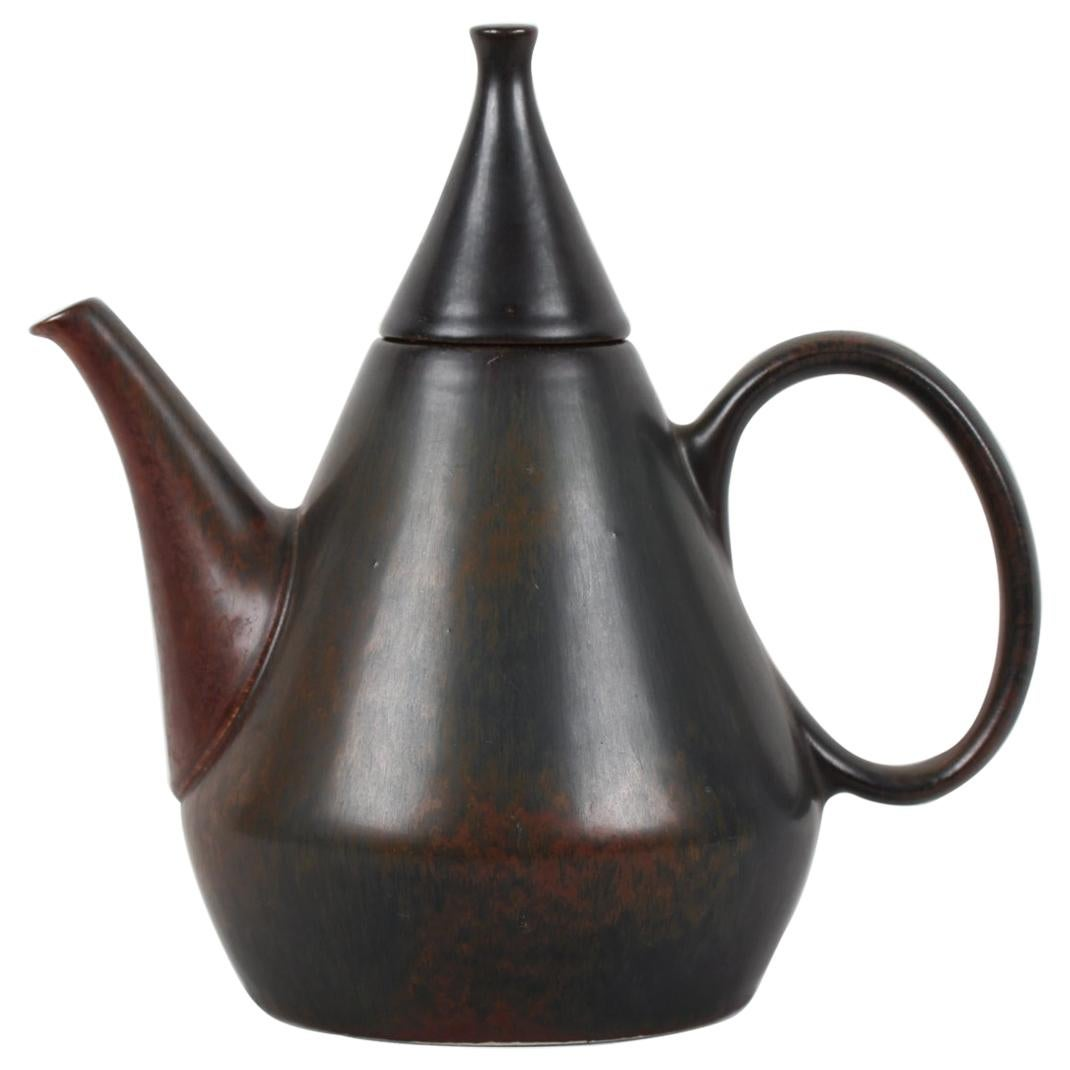 Carl-Harry Staalhane Conical Ceramic Teapot Made by Rörstrand in Sweden, 1960s