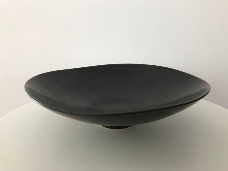 Mid-Century Modern Carl Harry Stålhane for Rörstrand Stoneware Biomorphic Bowl in Haresfure Glaze For Sale
