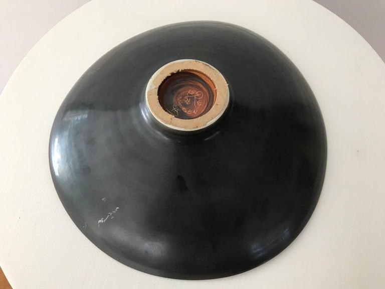 Ceramic Carl Harry Stålhane for Rörstrand Stoneware Biomorphic Bowl in Haresfure Glaze For Sale