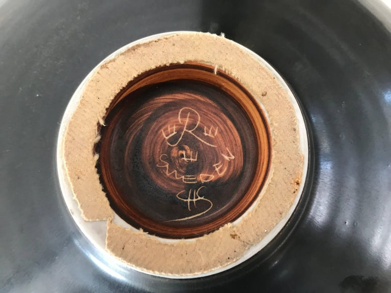 Carl Harry Stålhane for Rörstrand Stoneware Biomorphic Bowl in Haresfure Glaze For Sale 2