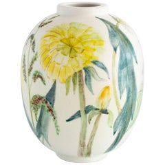 Carl-Harry Stalhane Ceramic Vase Decorated with Flowers for Rorstrand