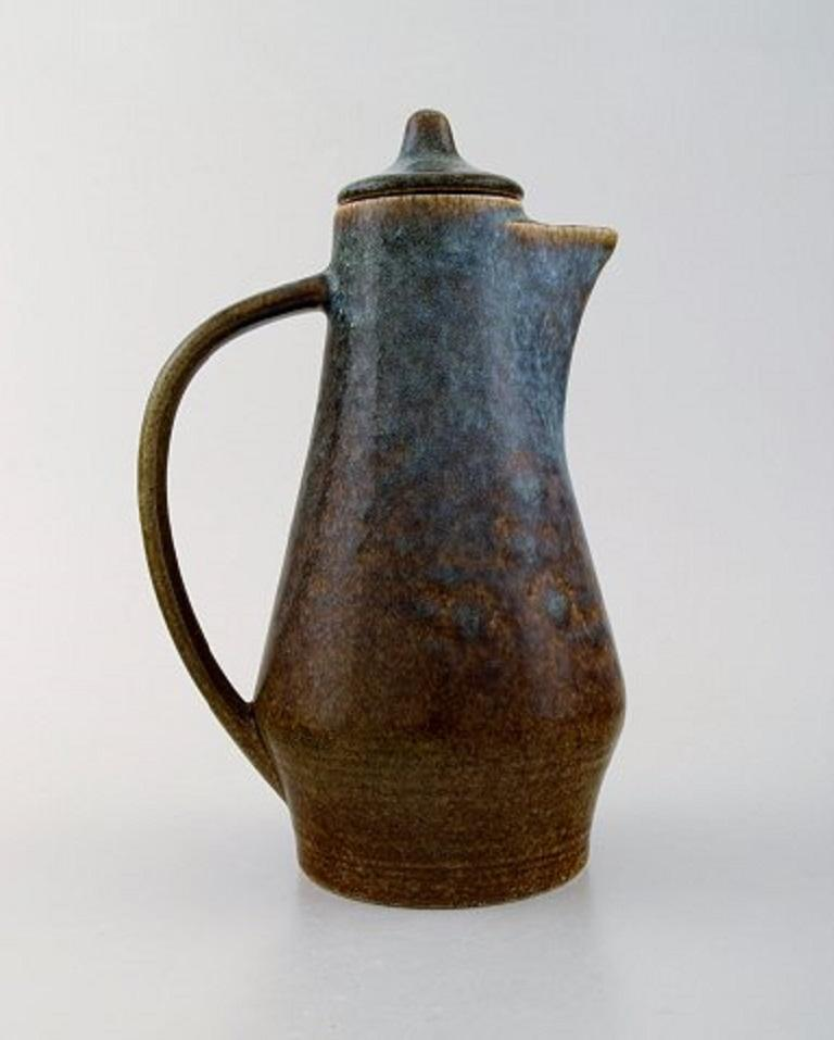 Scandinavian Modern Carl Harry Stålhane for Rörstrand, Jug with Lid in Glazed Stoneware For Sale