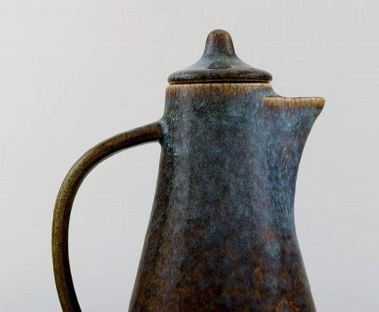 Swedish Carl Harry Stålhane for Rörstrand, Jug with Lid in Glazed Stoneware For Sale