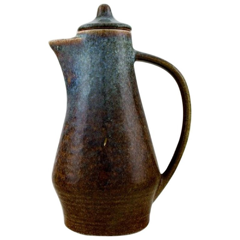 Carl Harry Stålhane for Rörstrand, Jug with Lid in Glazed Stoneware For Sale