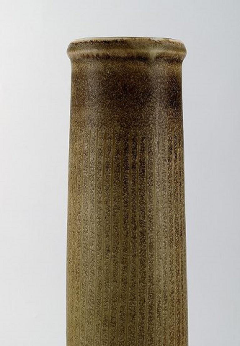Scandinavian Modern Carl Harry Stålhane for Rörstrand, Large Cylindrical Vase in Glazed Ceramics For Sale