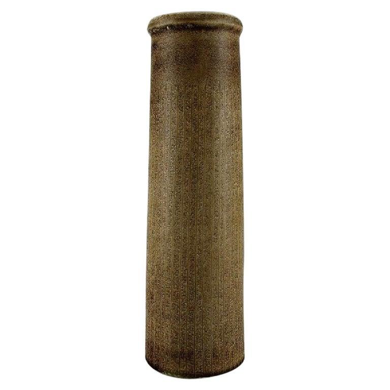 Carl Harry Stålhane for Rörstrand, Large Cylindrical Vase in Glazed Ceramics For Sale