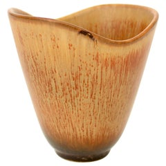 Carl-Harry Stålhane for Rörstrand Swedish Ochre Brown Ceramic Vase, circa 1950