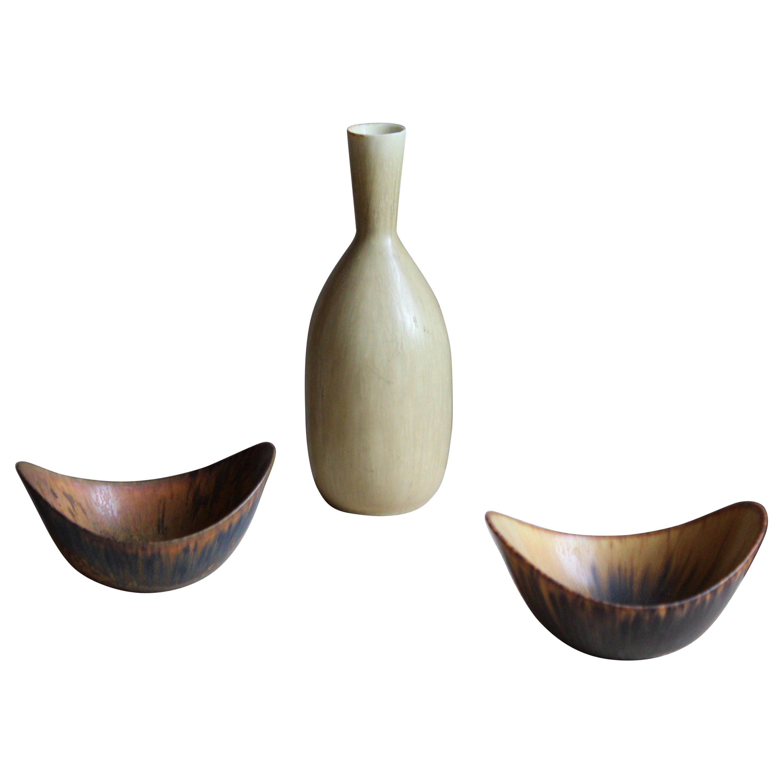 Carl-Harry Stålhane & Gunnar Nylund, Small Vase & Bowls, Rörstand, Sweden, 1950s