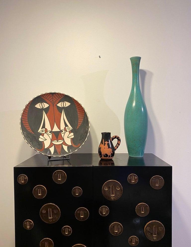 Carl-Harry Stålhane Large Ceramic Turquoise Spotted Glaze Vase, 1950s For Sale 1