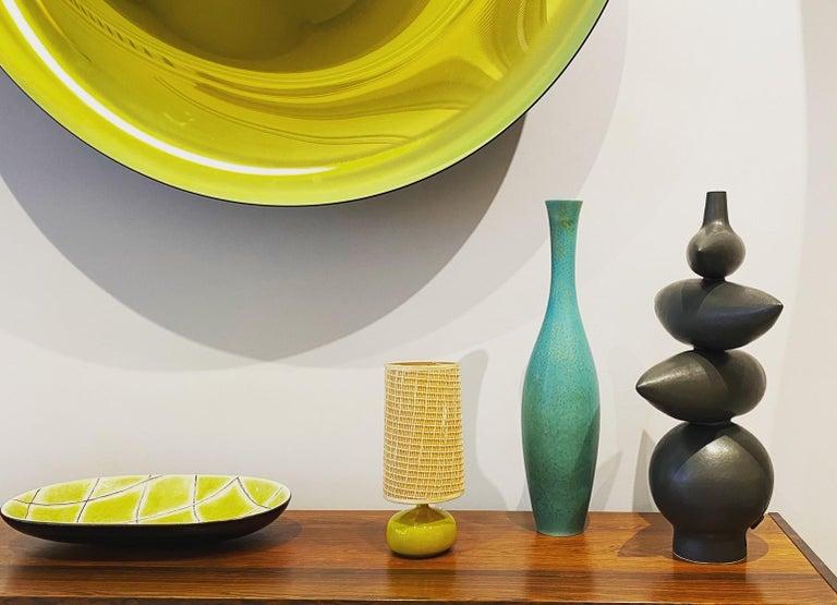 Carl-Harry Stålhane Large Ceramic Turquoise Spotted Glaze Vase, 1950s For Sale 2