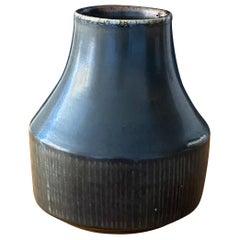 Carl-Harry Stålhane, Rare Stoneware vase, Black Glaze, Rörstrand, 1960s