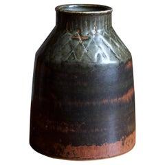 Carl-Harry Stålhane, Rare Stoneware Vase, Glazed Stoneware, Rörstrand, 1960s