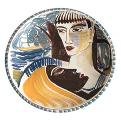 Carl Harry Stålhane, Rorstrand 1943, Hand Painted Bowl with Two Faces