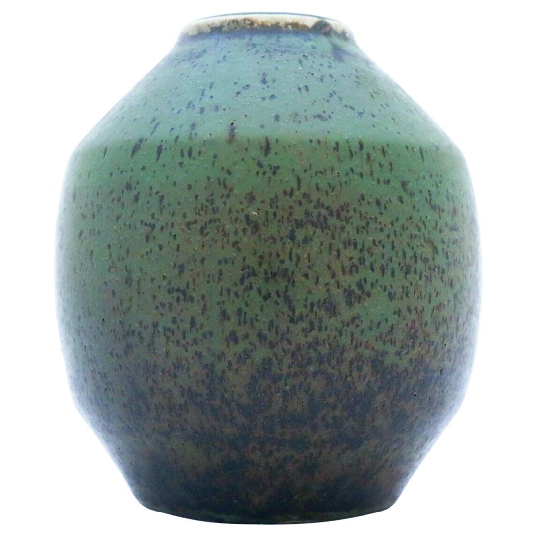 Carl-Harry Stålhane, Rörstrand, Green Unique Stoneware Vase, 1960