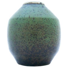 Carl-Harry Stålhane, Rörstrand, Green Unique Stoneware Vase, 1960
