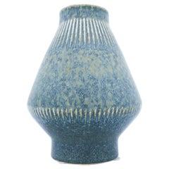 Carl-Harry Stålhane, Rörstrand, Midcentury Blue Stoneware Vase