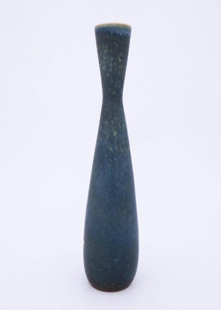 Scandinavian Modern Carl-Harry Stålhane, Rörstrand, Midcentury Unique Blue Stoneware Vase For Sale