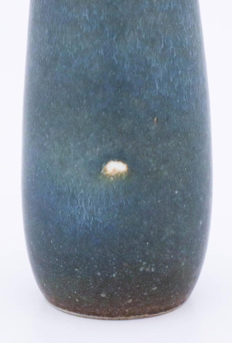 Swedish Carl-Harry Stålhane, Rörstrand, Midcentury Unique Blue Stoneware Vase For Sale