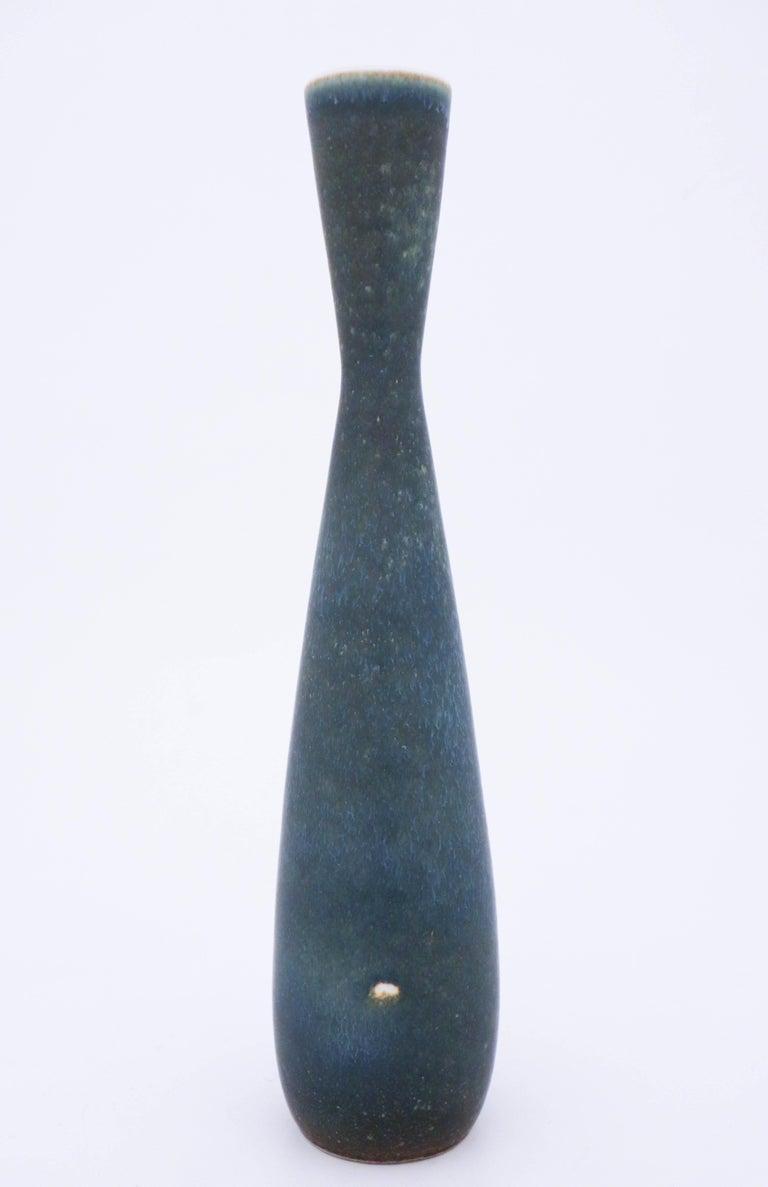 Glazed Carl-Harry Stålhane, Rörstrand, Midcentury Unique Blue Stoneware Vase For Sale