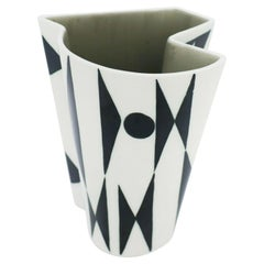 "Carl-Harry Stålhane, Rörstrand, Midcentury Vase ""Konstrakta"" Black and White"