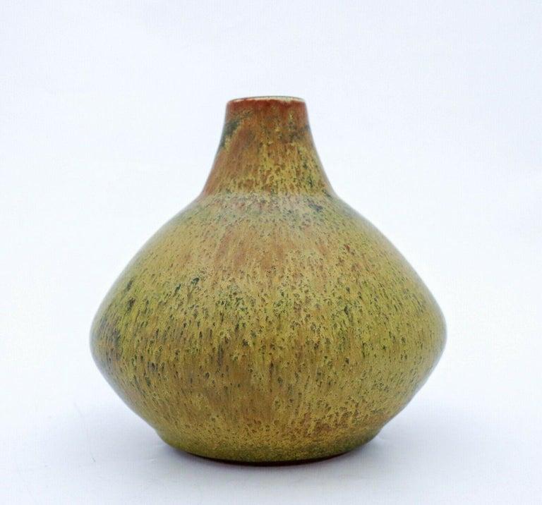 Scandinavian Modern Carl-Harry Stålhane, Rörstrand, Yellow Unique Stoneware Vase, 1963 For Sale