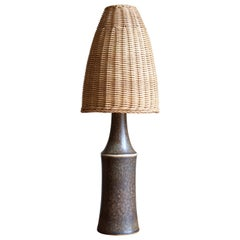 Carl-Harry Stålhane, Table Lamp, Glazed Stoneware, Rattan, Rörstrand, 1950s