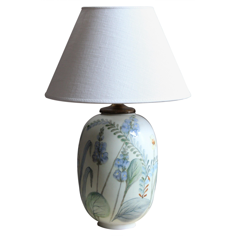 Carl-Harry Stålhane, Table Lamp Hand Painted Stoneware Rörstand, 1950s