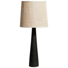 Carl Harry Stalhane Table Lamp with Hare's Fur Glaze and Woven Shade, circa 1955