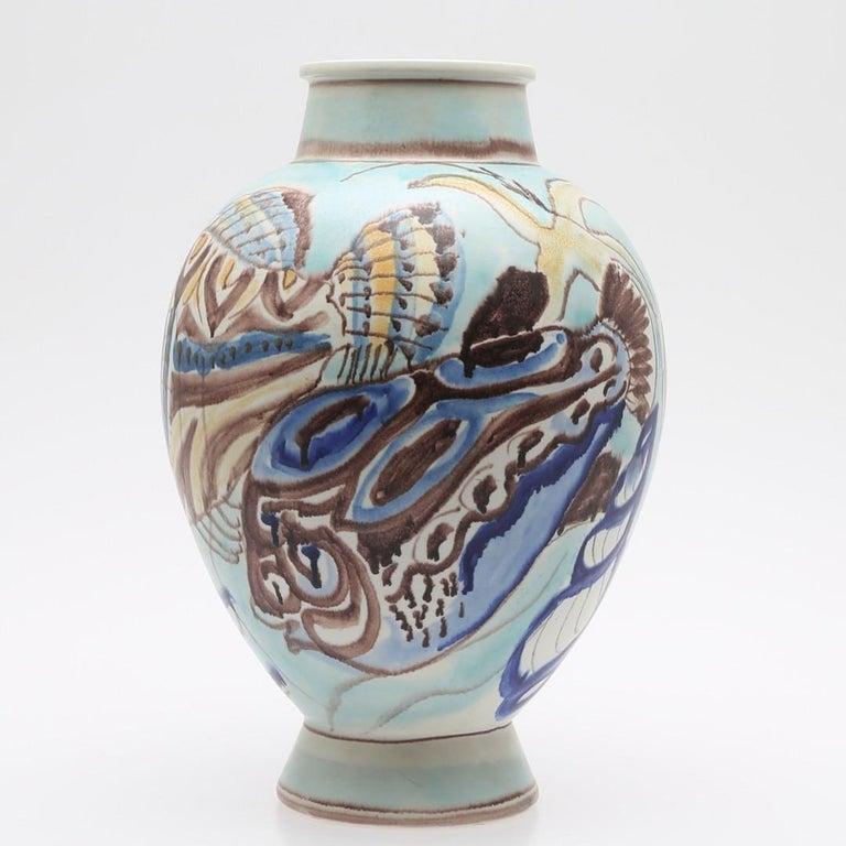 Scandinavian Modern Carl-Harry Stålhane, Unique Hand Decorated Vase, Sweden, 1944 For Sale