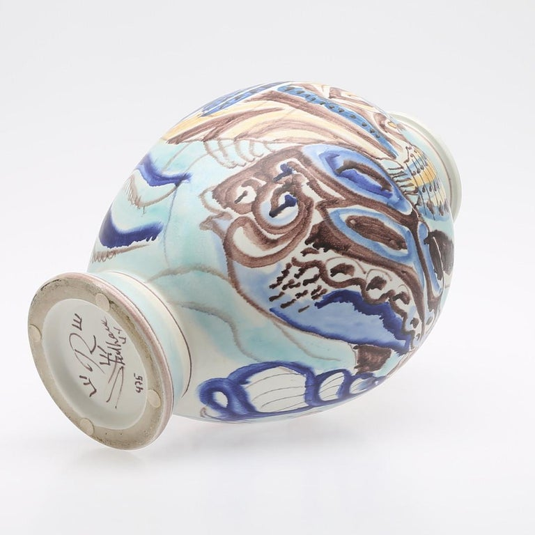 Earthenware Carl-Harry Stålhane, Unique Hand Decorated Vase, Sweden, 1944 For Sale