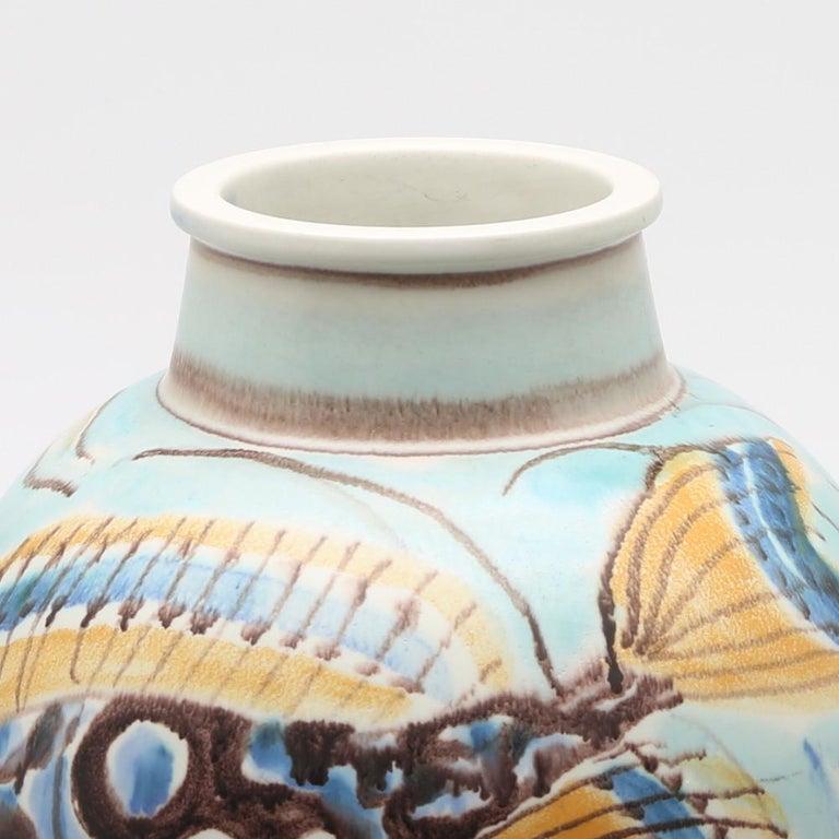 Carl-Harry Stålhane, Unique Hand Decorated Vase, Sweden, 1944 For Sale 1