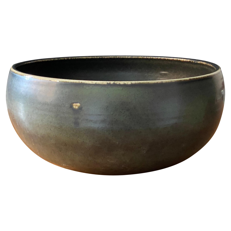 Carl-Harry Stålhane, Unique Large bowl, Green Glazed Ceramic, Rörstands, 1960