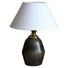 Carl-Harry Stålhane, Unique Table Lamp, Glazed Stoneware, Rörstand, 1950s