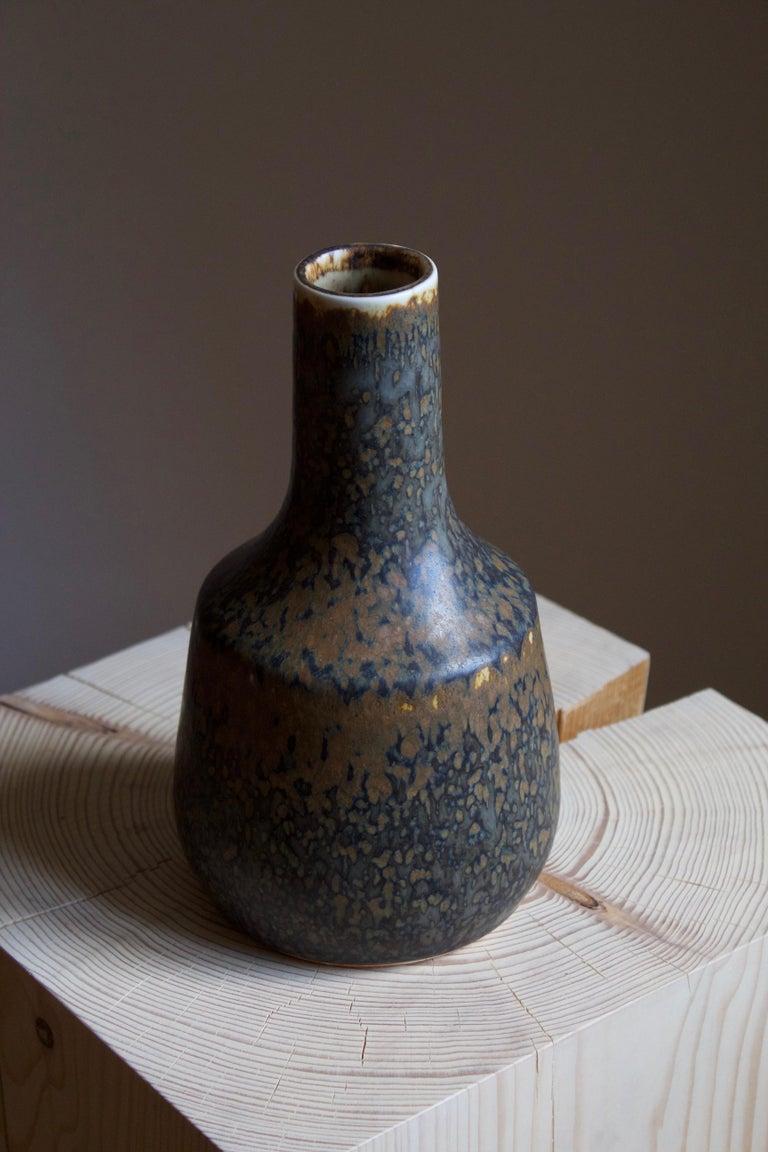 Mid-Century Modern Carl-Harry Stålhane, Vase, Brown / Blue Glazed Stoneware, Rörstrand, 1960s For Sale