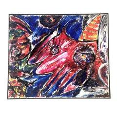 "Carl-Henning Pedersen Cobra Painting, Title, ""Rød Vinge Hest"" ""Red Wing Horse"""