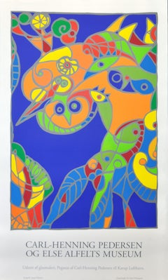 "Large Danish Abstract Cobra Screen Print ""Pegasus"""