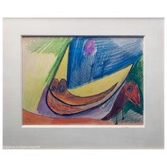 "Carl-Henning Pedersen, ""Red and Yellow Bird"", 1939, Chalk Drawing on Paper"