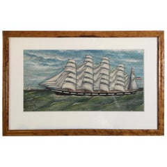 Carl Herting Gouache on Paper of Sailing Four Masted Tall Ship