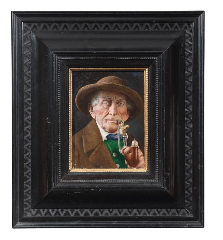 A good smoke signed oil on panel Measures: 20 x 16 cm.; 8 x 6 1/4 in.