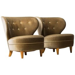 Carl-Johan Boman Easy Chairs in Mohair Velvet Fabric